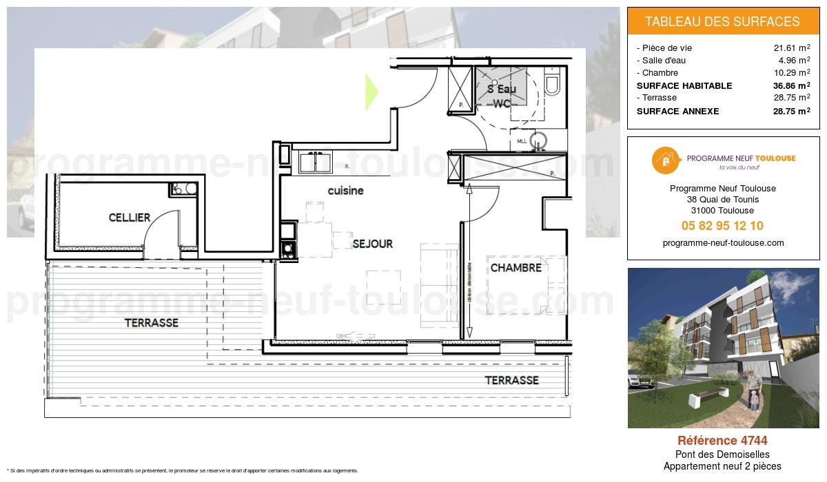 Plan pour un Appartement neuf de  36.86m² à Pont des Demoiselles