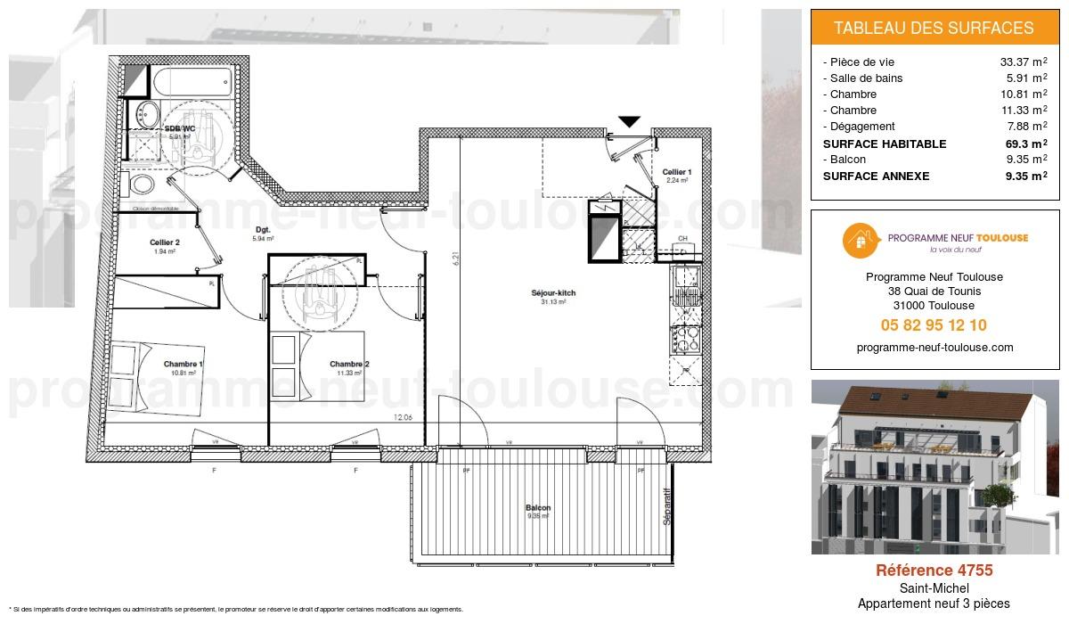 Plan pour un Appartement neuf de  69.3m² à Saint-Michel