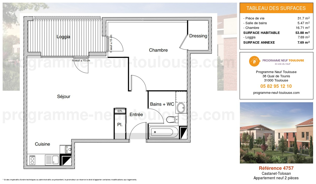 Plan pour un Appartement neuf de  53.88m² à Castanet-Tolosan