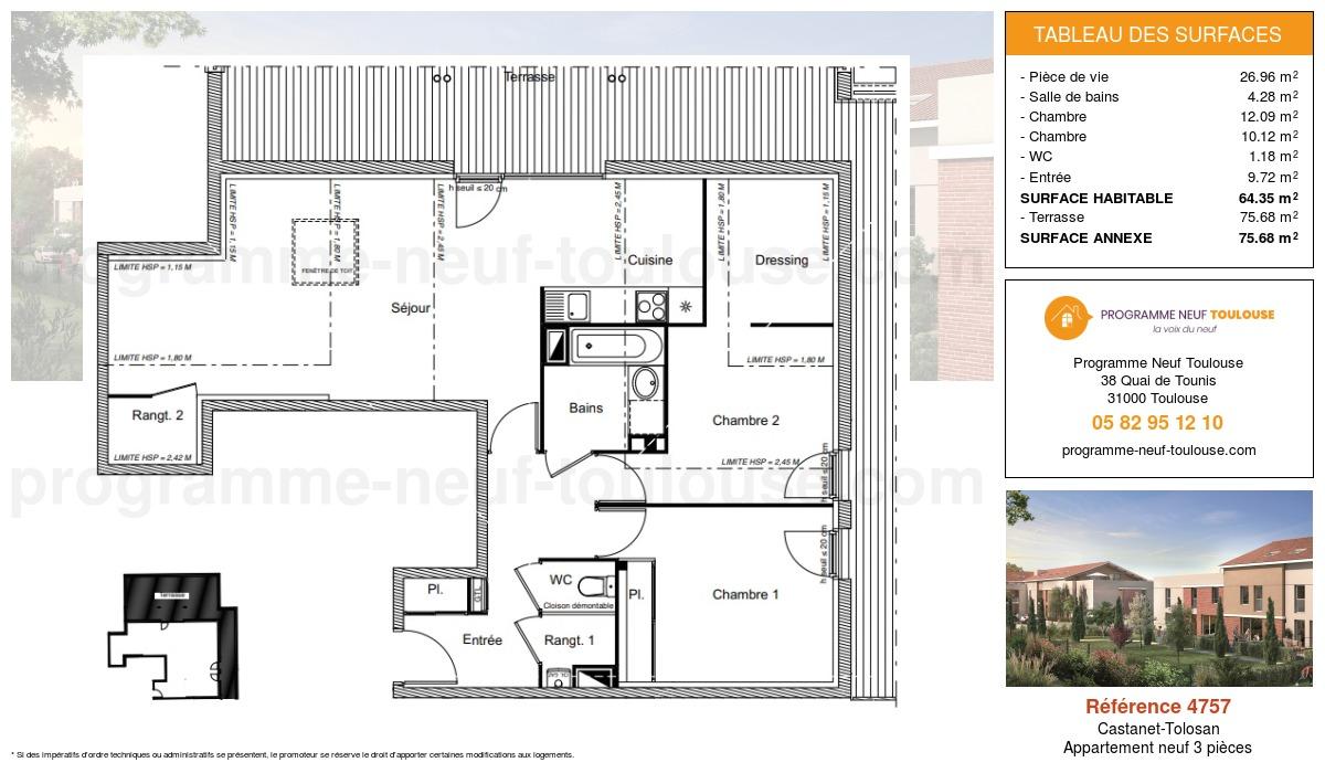 Plan pour un Appartement neuf de  64.35m² à Castanet-Tolosan