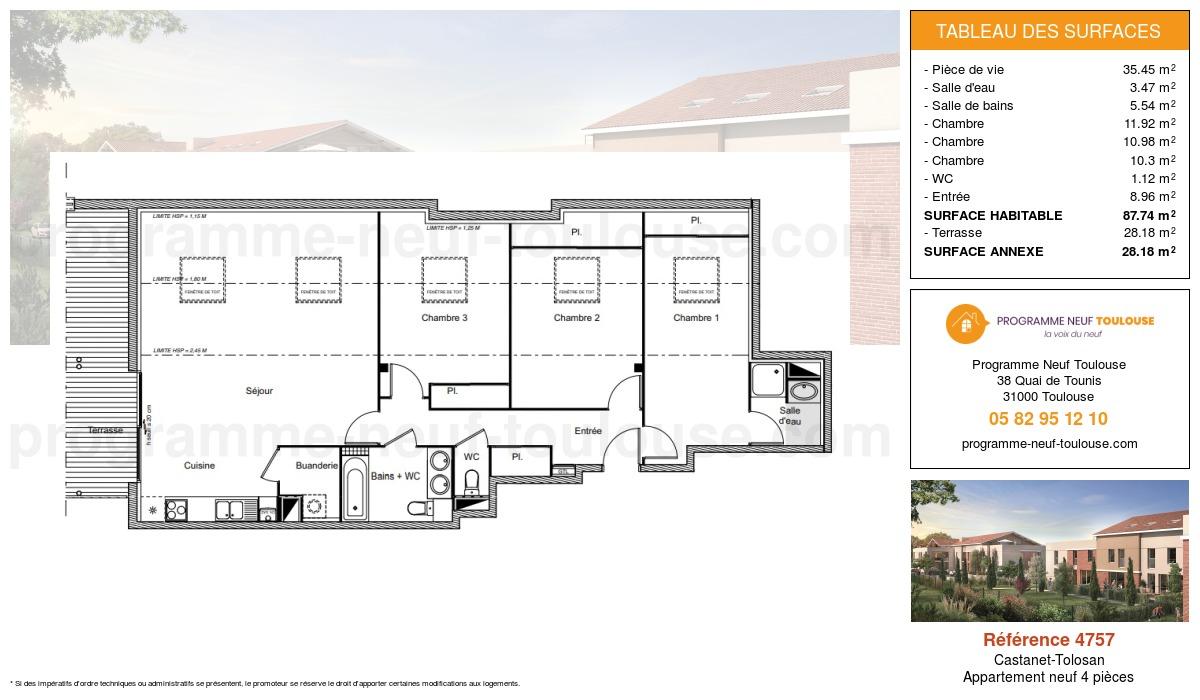 Plan pour un Appartement neuf de  87.74m² à Castanet-Tolosan