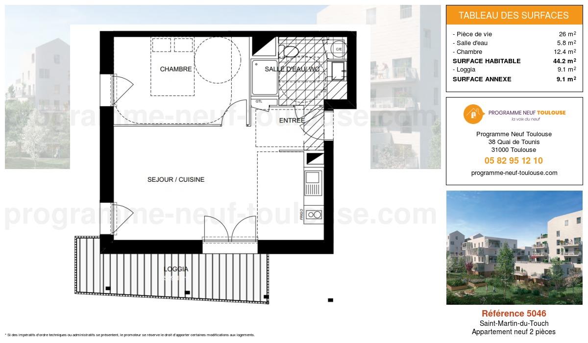 Plan pour un Appartement neuf de  44.2m² à Saint-Martin-du-Touch