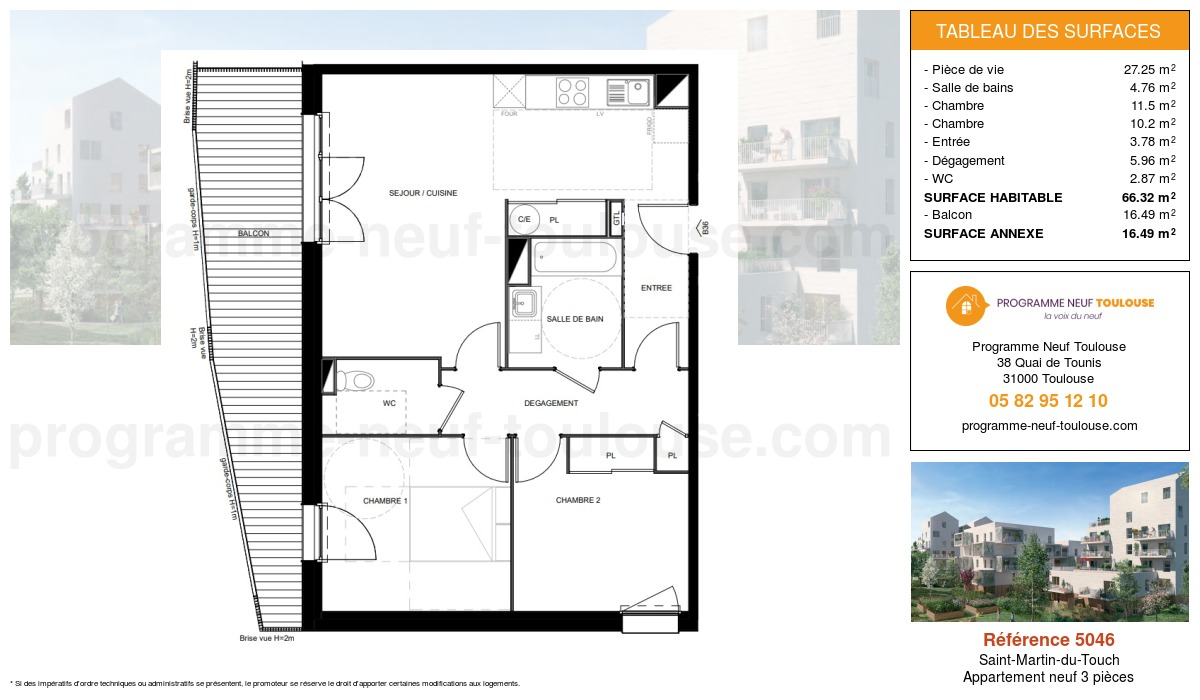 Plan pour un Appartement neuf de  66.32m² à Saint-Martin-du-Touch