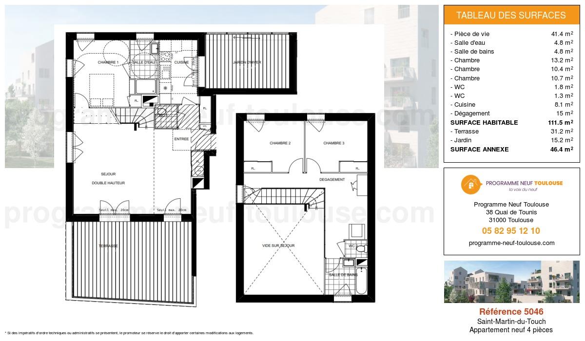 Plan pour un Appartement neuf de  111.5m² à Saint-Martin-du-Touch