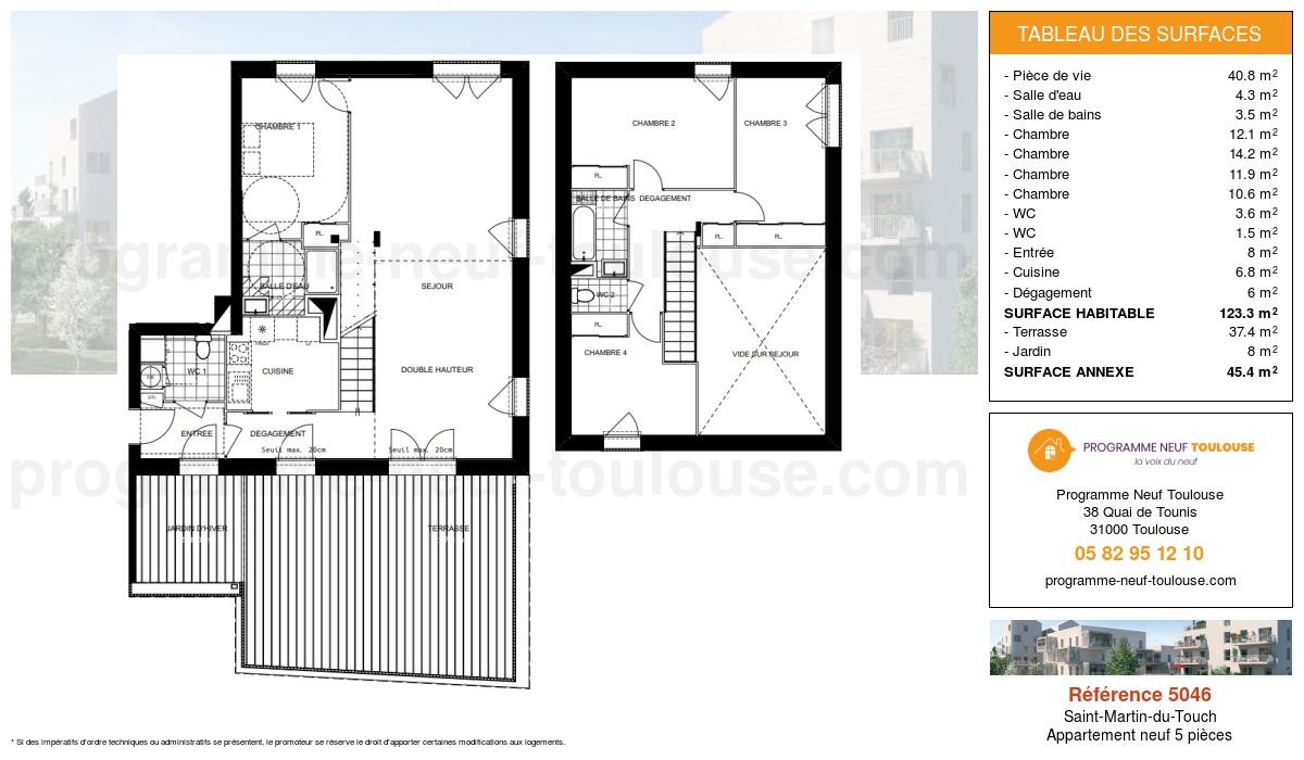 Plan pour un Appartement neuf de  123.3m² à Saint-Martin-du-Touch