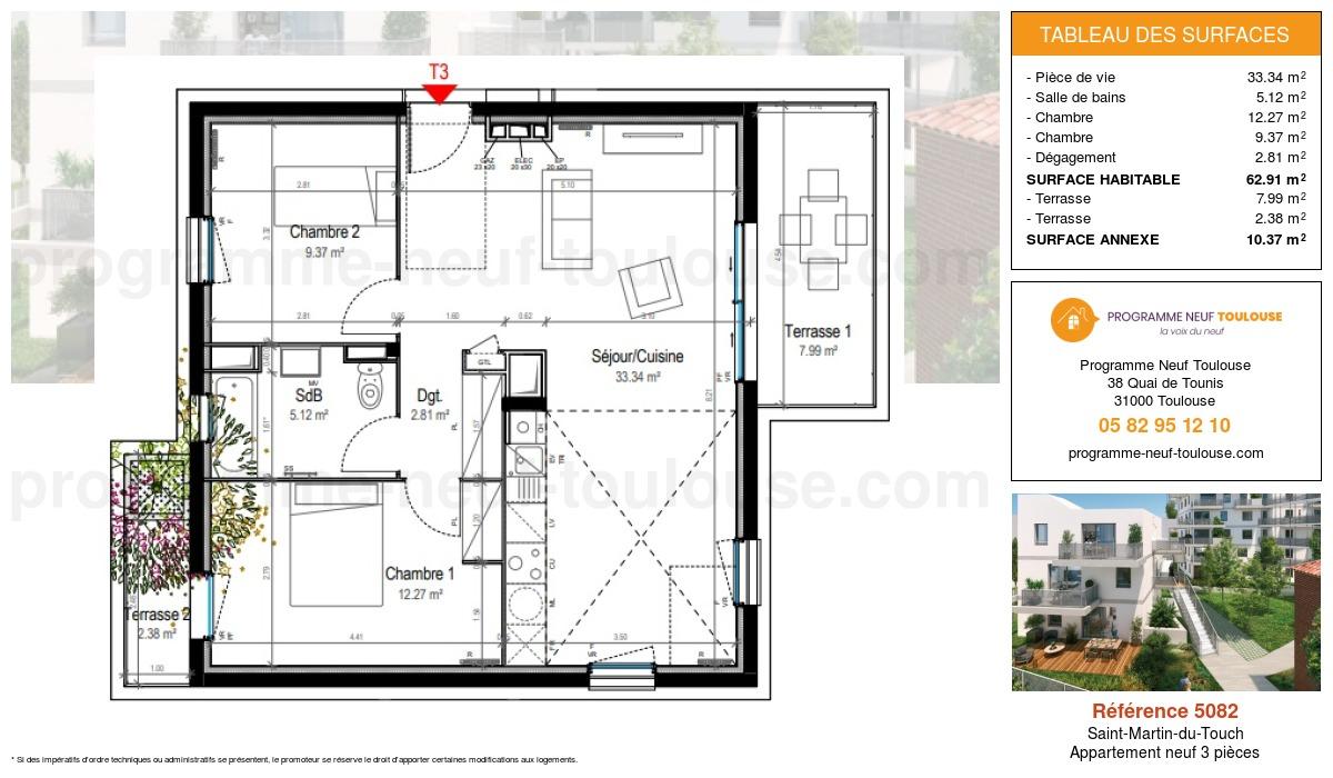 Plan pour un Appartement neuf de  62.91m² à Saint-Martin-du-Touch