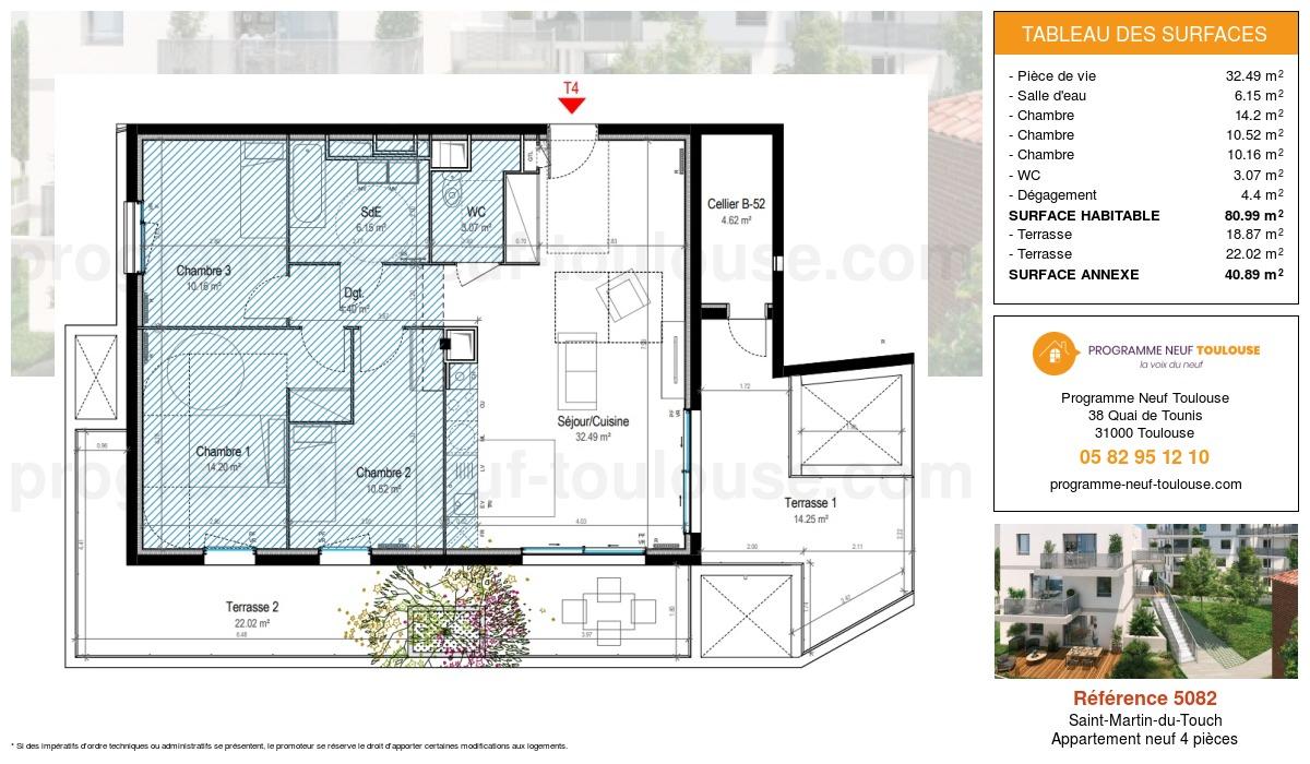 Plan pour un Appartement neuf de  81m² à Saint-Martin-du-Touch