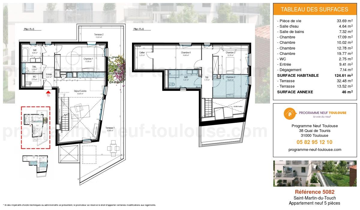 Plan pour un Appartement neuf de  124.62m² à Saint-Martin-du-Touch