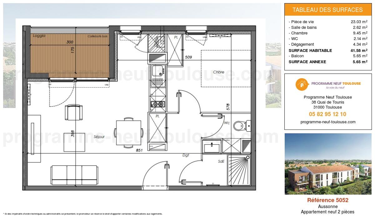 Plan pour un Appartement neuf de  41.58m² à Aussonne