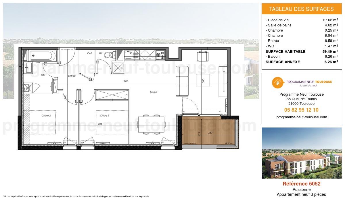 Plan pour un Appartement neuf de  59.49m² à Aussonne