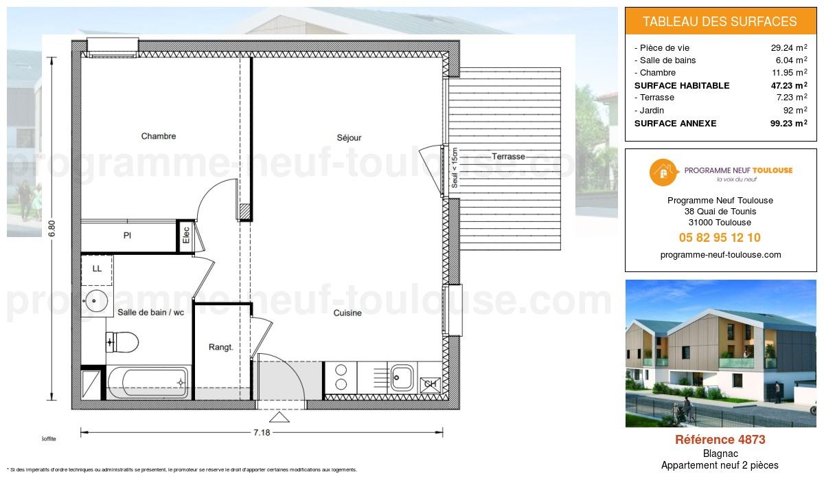 Plan pour un Appartement neuf de  47.23m² à Blagnac