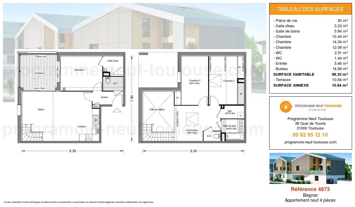 Plan pour un Appartement neuf de  98.33m² à Blagnac
