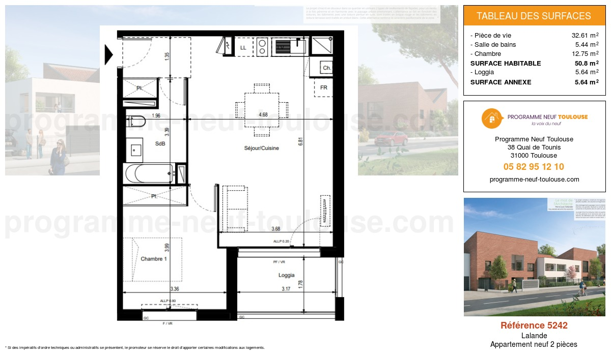 Plan pour un Appartement neuf de  50.8m² à Lalande