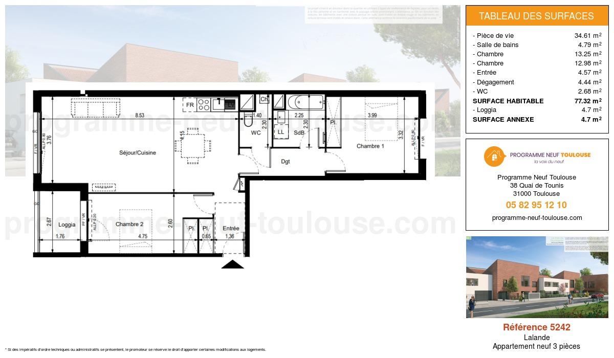 Plan pour un Appartement neuf de  77.32m² à Lalande
