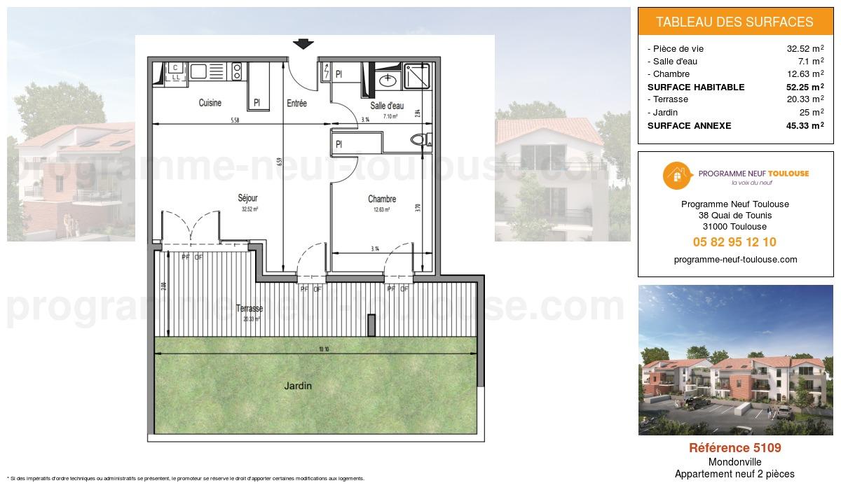 Plan pour un Appartement neuf de  52.25m² à Mondonville