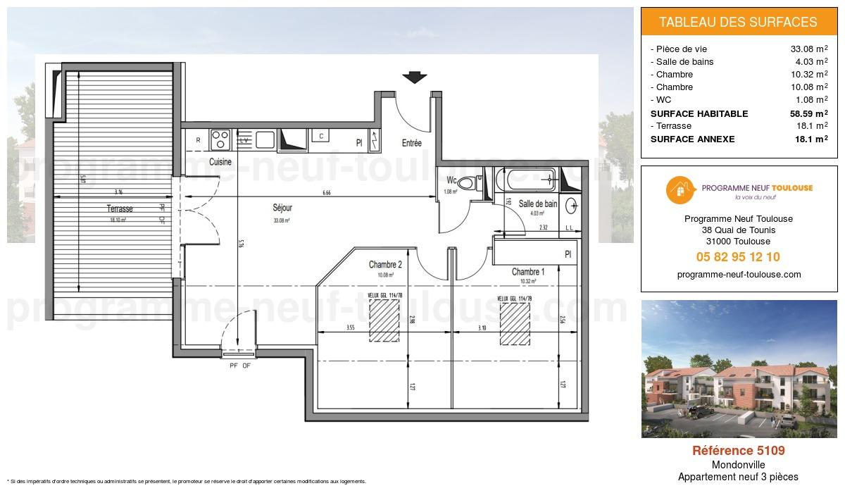 Plan pour un Appartement neuf de  58.59m² à Mondonville