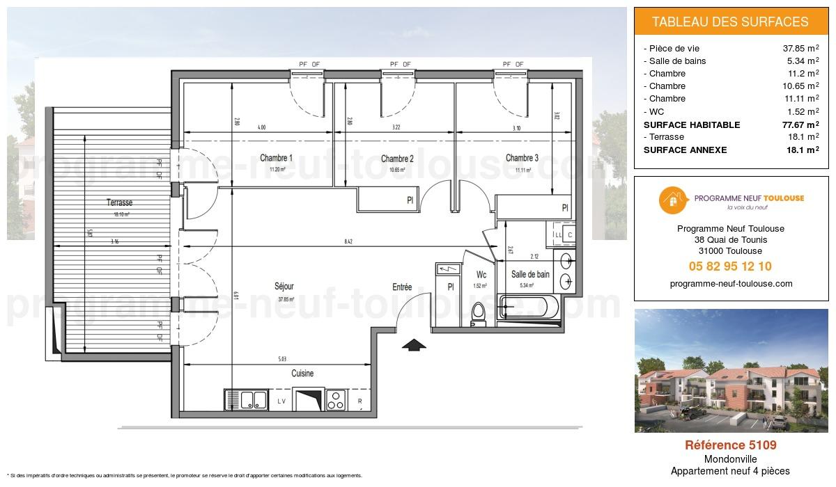 Plan pour un Appartement neuf de  77.67m² à Mondonville