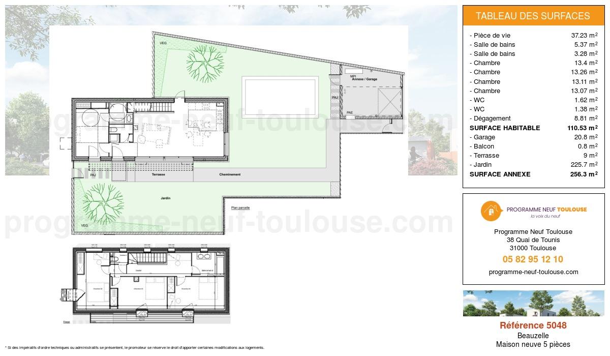 Plan pour un Maison neuve de  110.53m² à Beauzelle