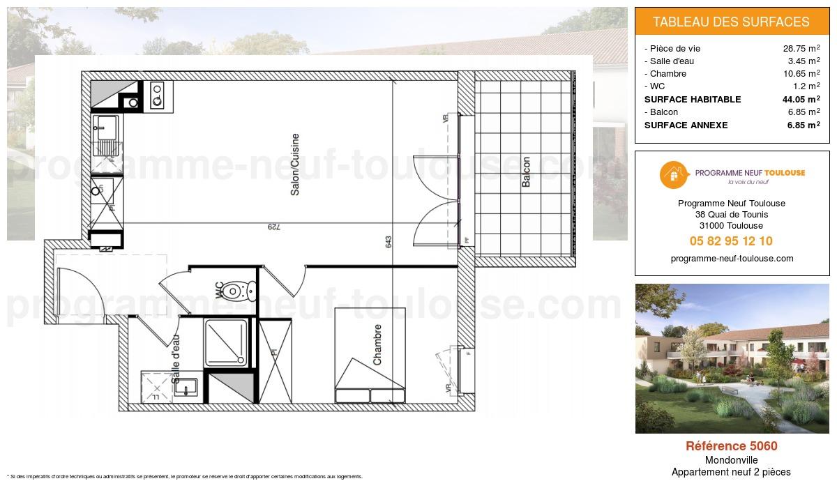 Plan pour un Appartement neuf de  44.05m² à Mondonville