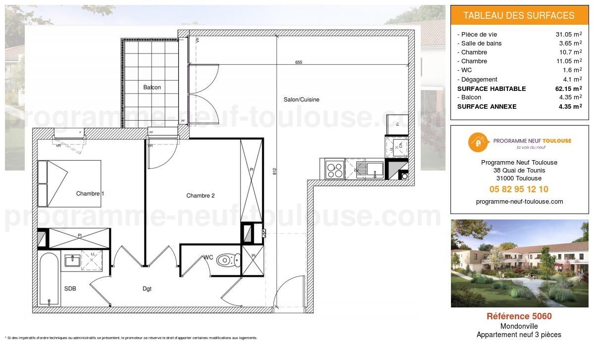 Plan pour un Appartement neuf de  62.15m² à Mondonville