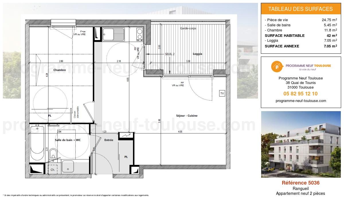 Plan pour un Appartement neuf de  45.15m² à Rangueil