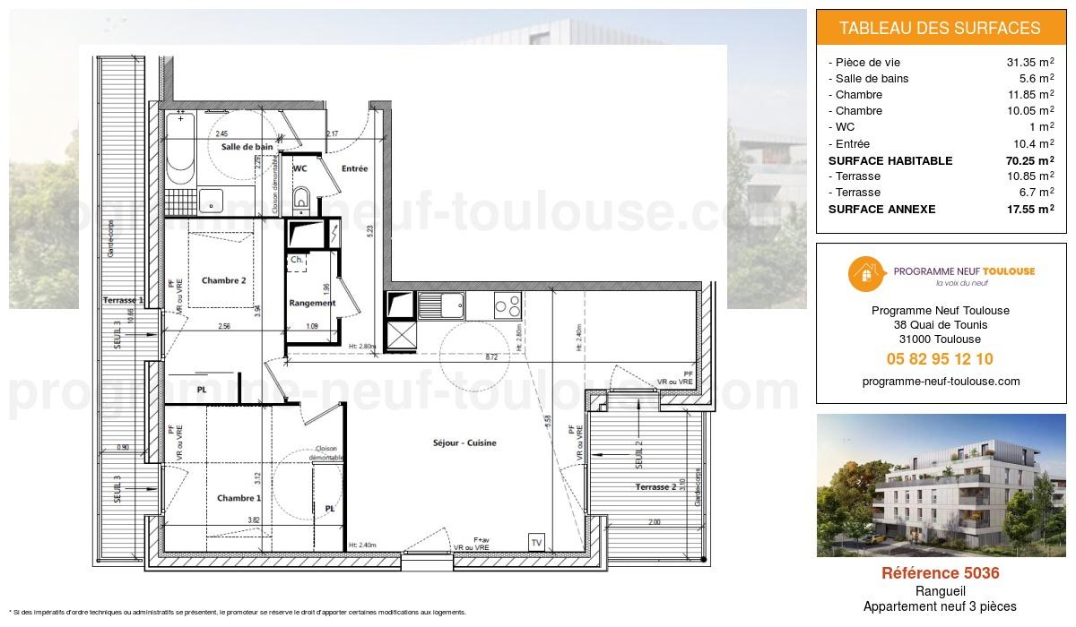 Plan pour un Appartement neuf de  70.25m² à Rangueil