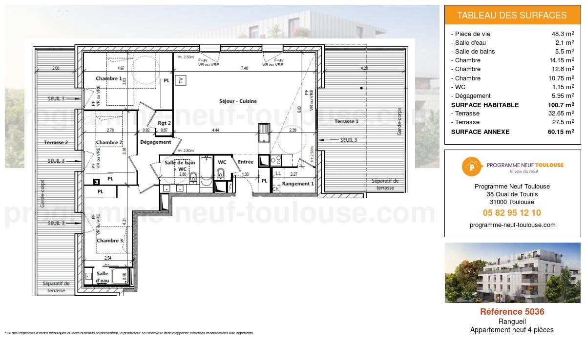 Plan pour un Appartement neuf de  100.7m² à Rangueil