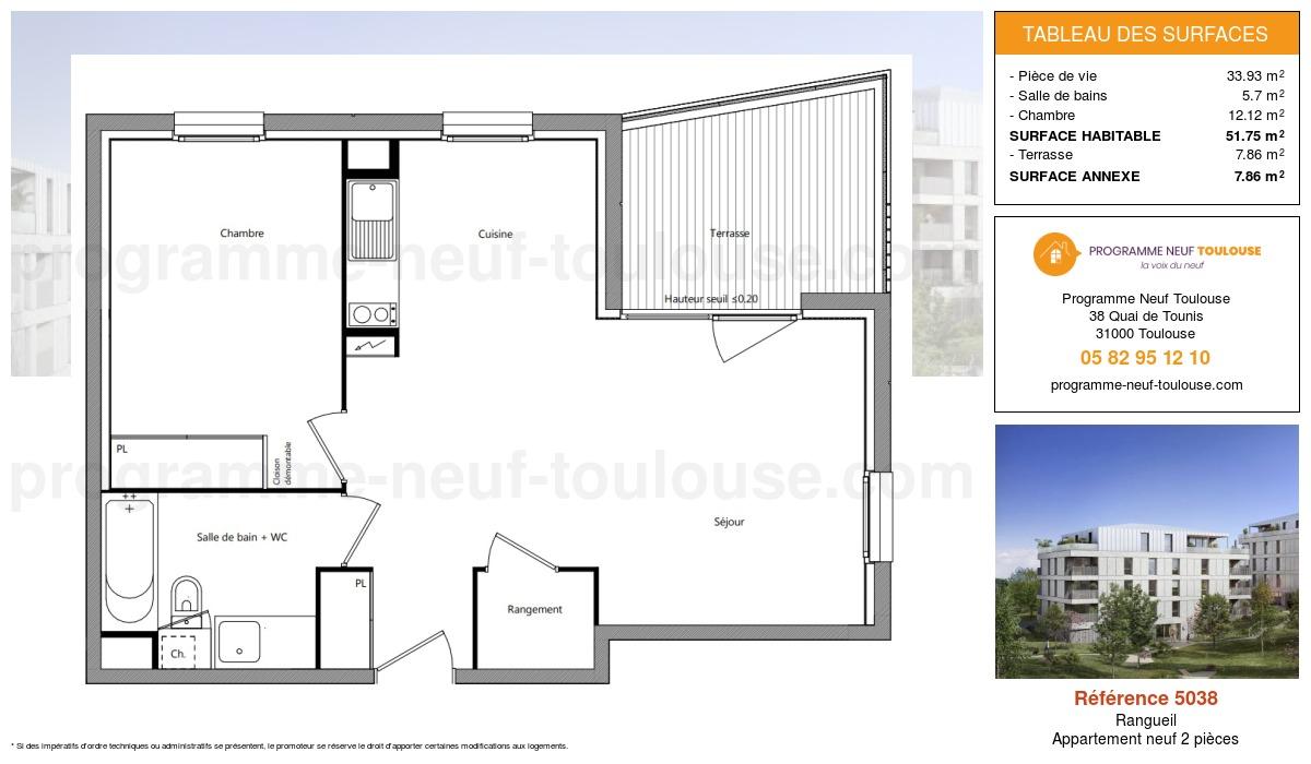 Plan pour un Appartement neuf de  50.02m² à Rangueil
