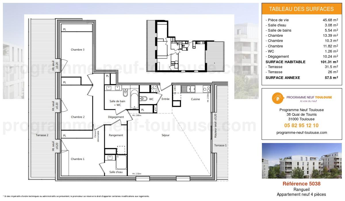 Plan pour un Appartement neuf de  101.31m² à Rangueil