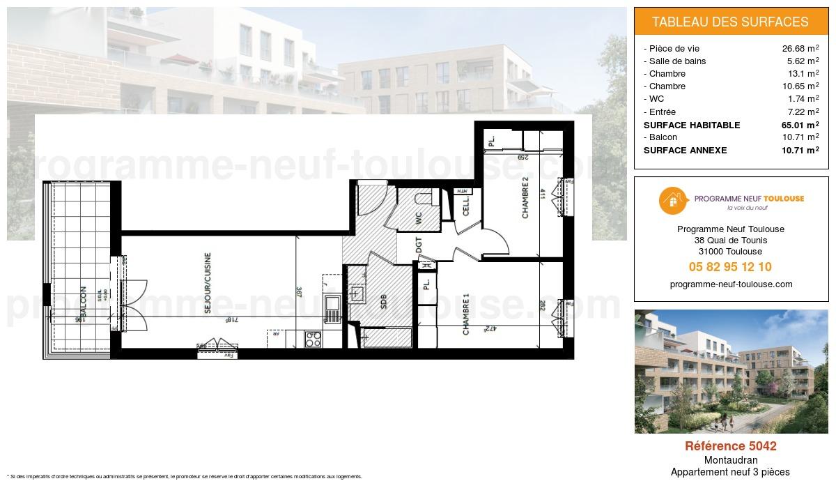 Plan pour un Appartement neuf de  65.01m² à Montaudran