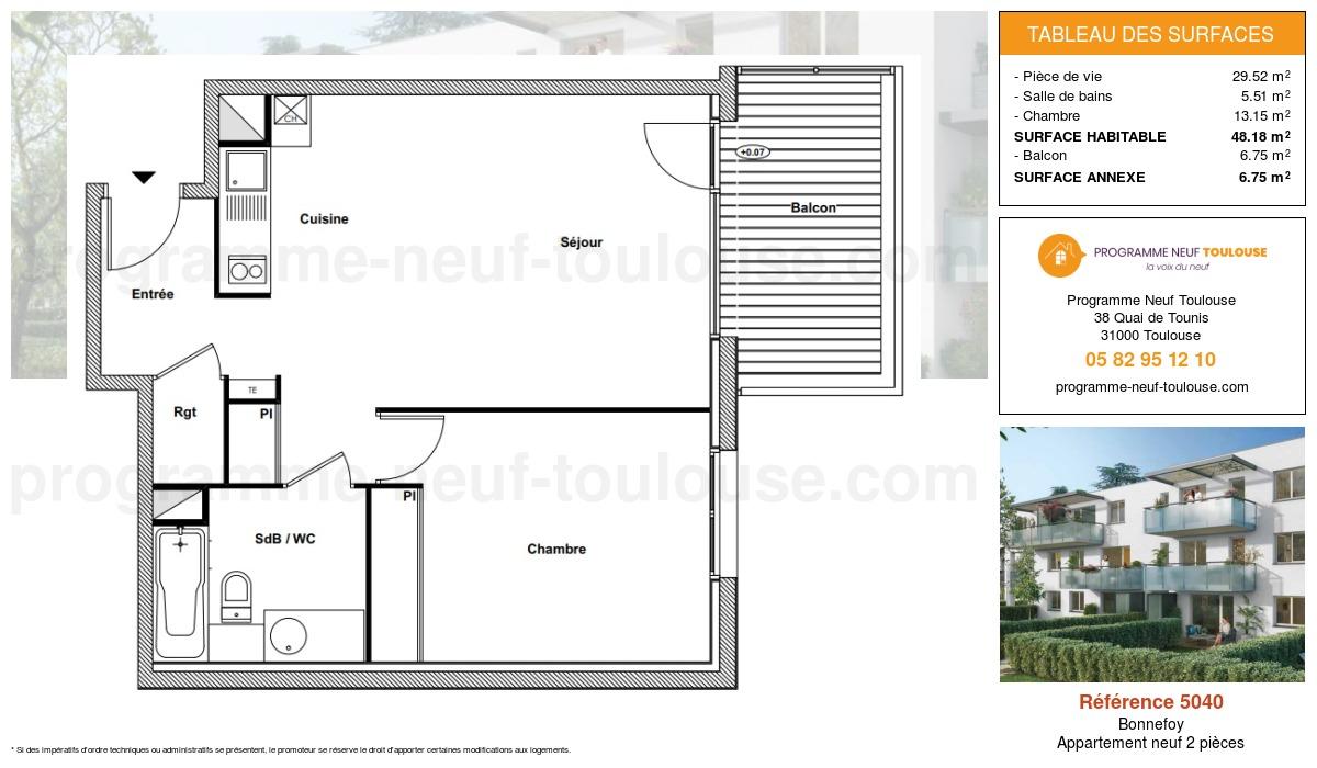 Plan pour un Appartement neuf de  48.18m² à Bonnefoy