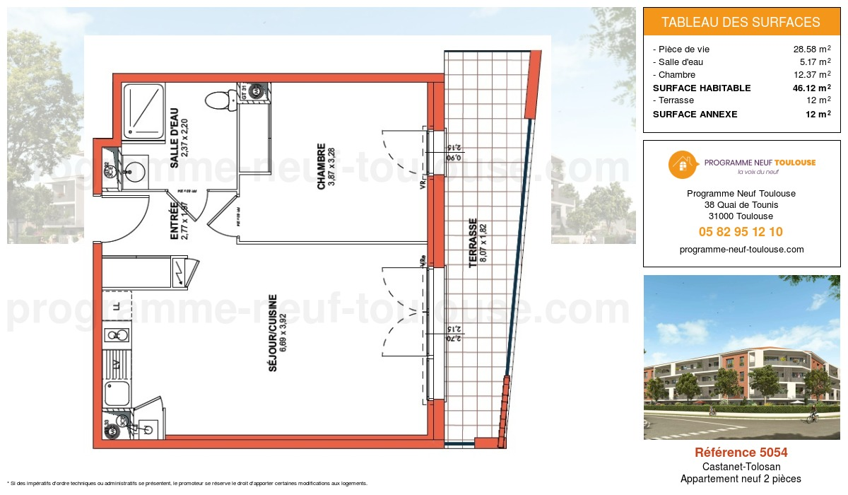 Plan pour un Appartement neuf de  46.12m² à Castanet-Tolosan