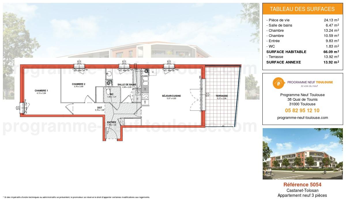 Plan pour un Appartement neuf de  66.09m² à Castanet-Tolosan