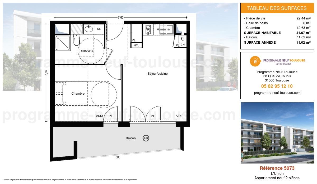 Plan pour un Appartement neuf de  41.07m² à L'Union
