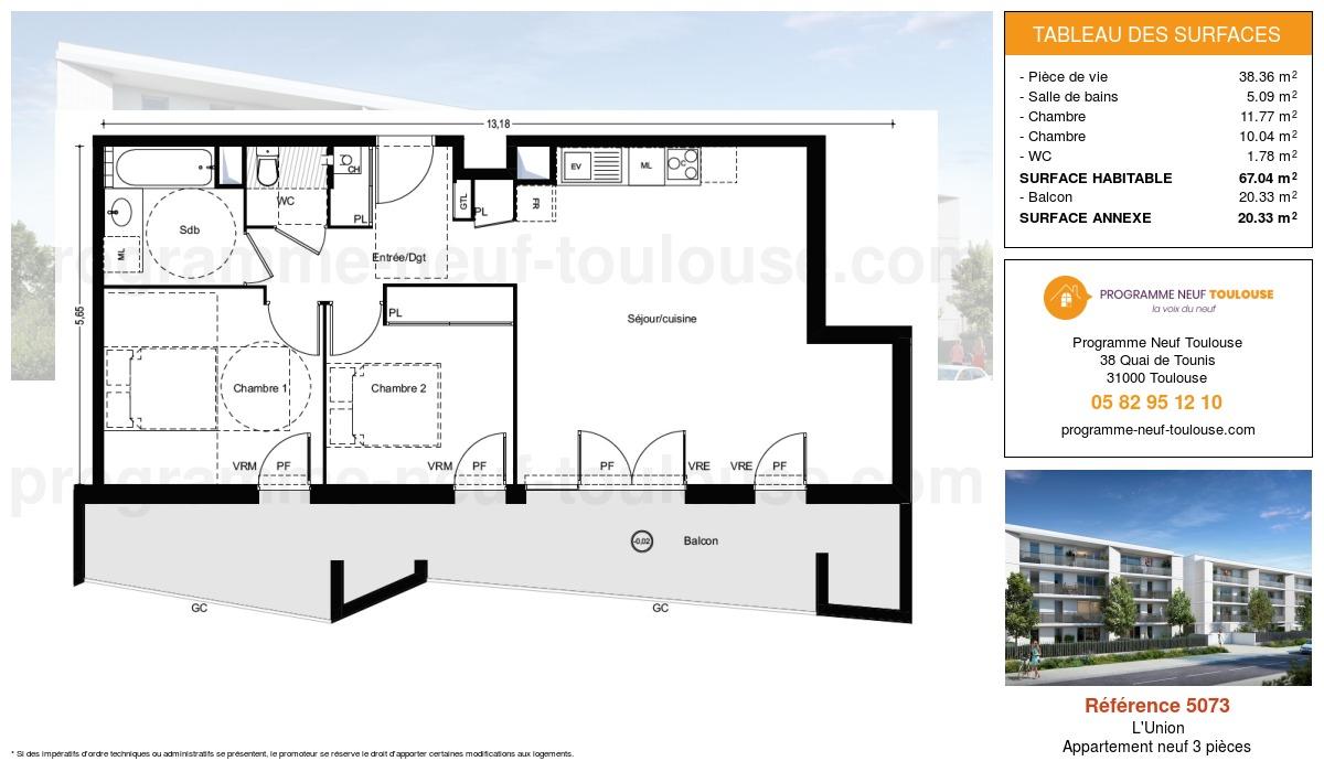 Plan pour un Appartement neuf de  67.04m² à L'Union