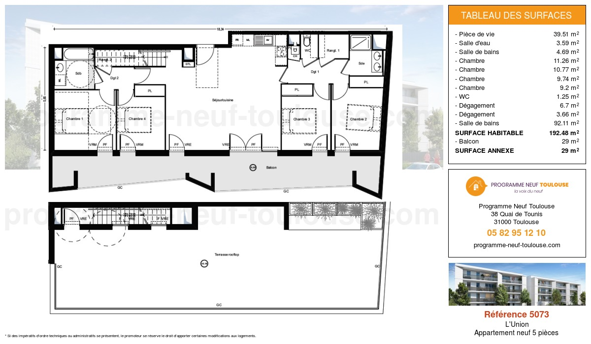 Plan pour un Appartement neuf de  100.37m² à L'Union