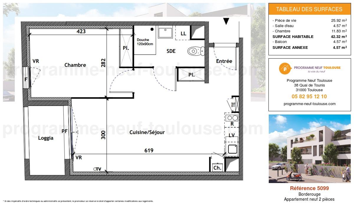 Plan pour un Appartement neuf de  42.32m² à Borderouge