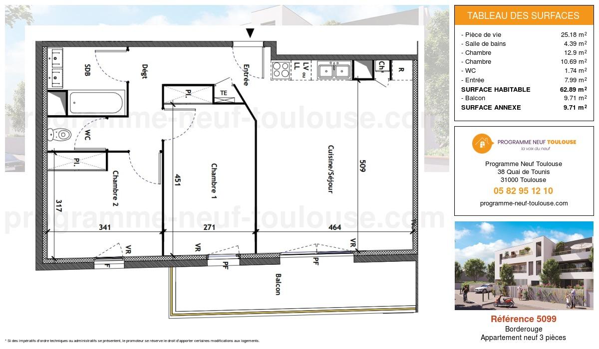 Plan pour un Appartement neuf de  62.89m² à Borderouge