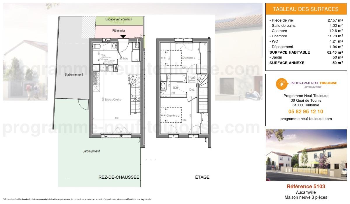 Plan pour un Maison neuve de  62.43m² à Aucamville