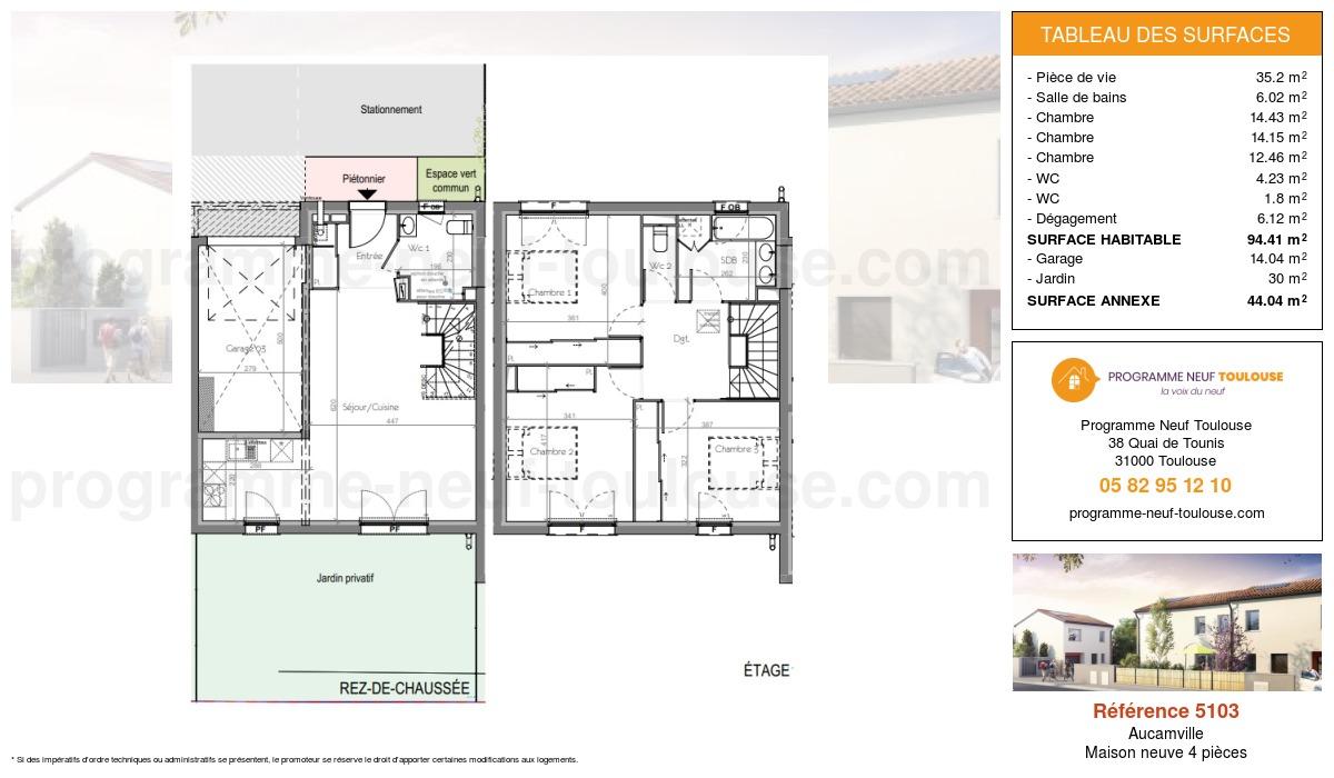 Plan pour un Maison neuve de  94.41m² à Aucamville