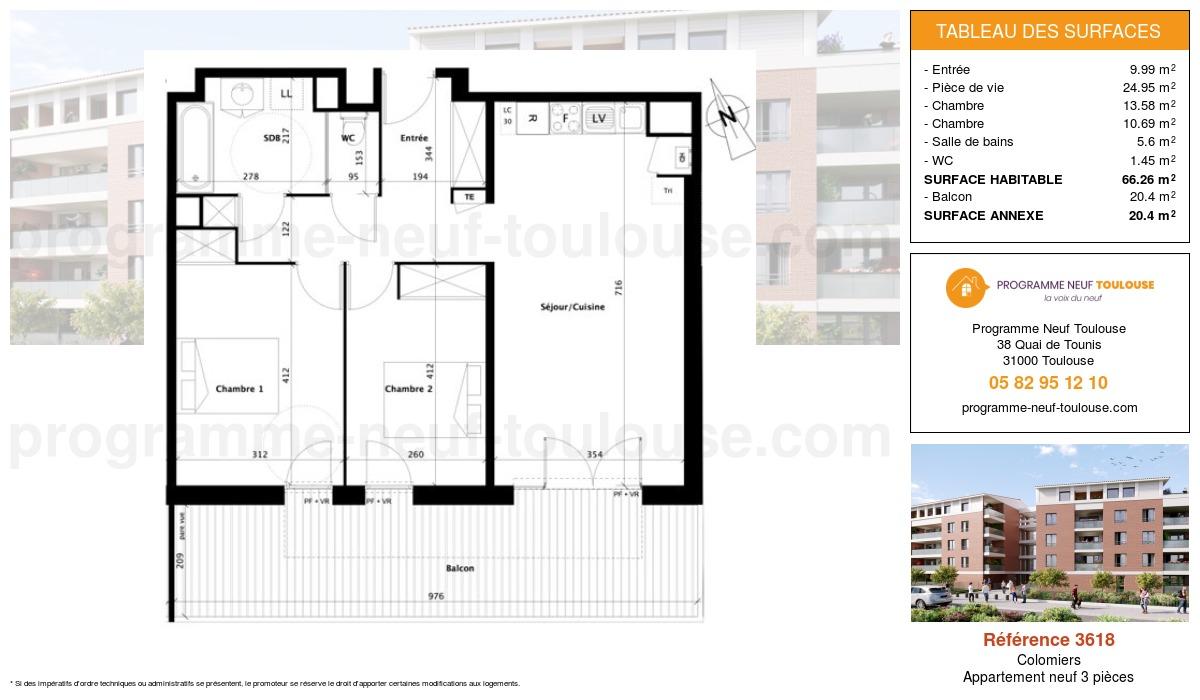 Plan pour un Appartement neuf de  66.26m² à Colomiers