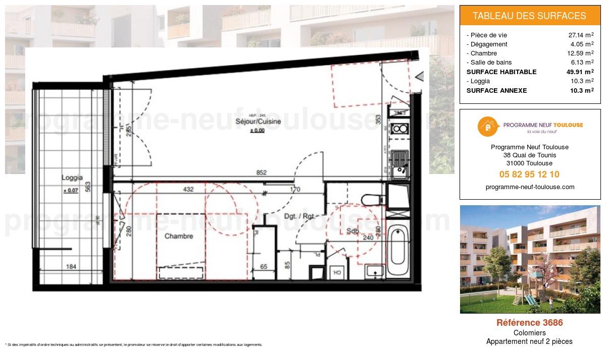 Plan pour un Appartement neuf de  49.91m² à Colomiers