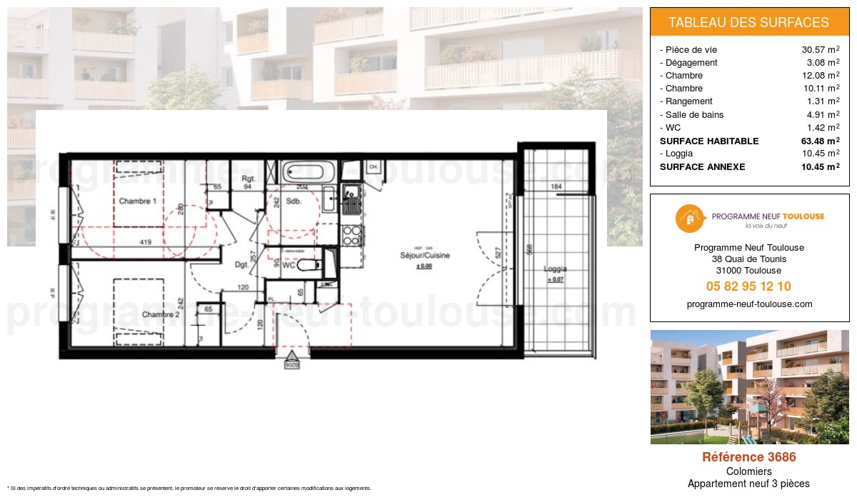 Plan pour un Appartement neuf de  63.48m² à Colomiers
