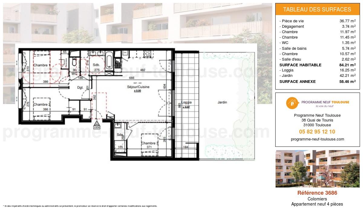 Plan pour un Appartement neuf de  84.21m² à Colomiers
