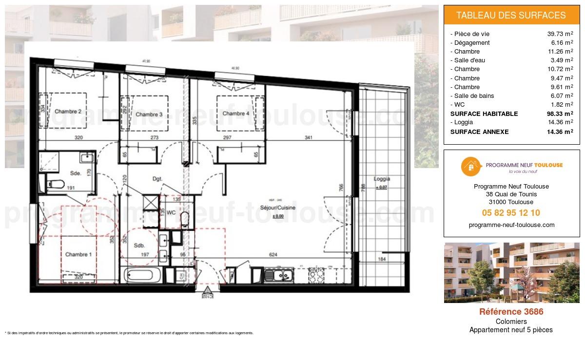 Plan pour un Appartement neuf de  98.33m² à Colomiers
