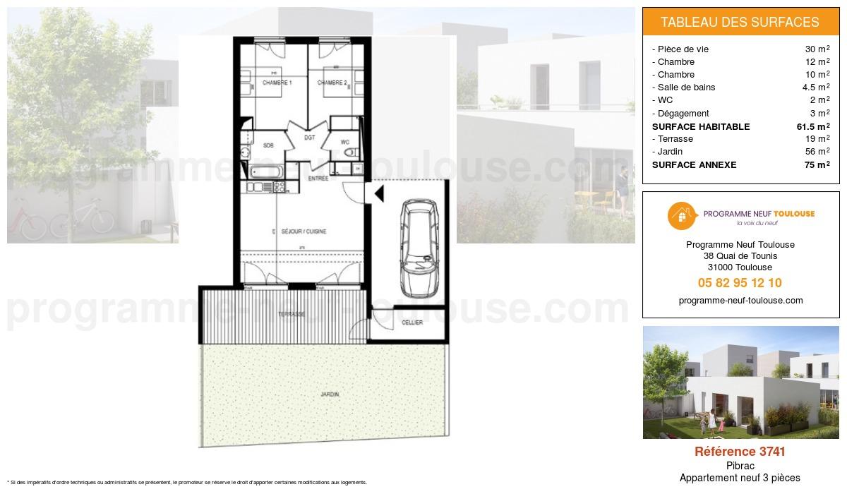 Plan pour un Appartement neuf de  61.5m² à Pibrac