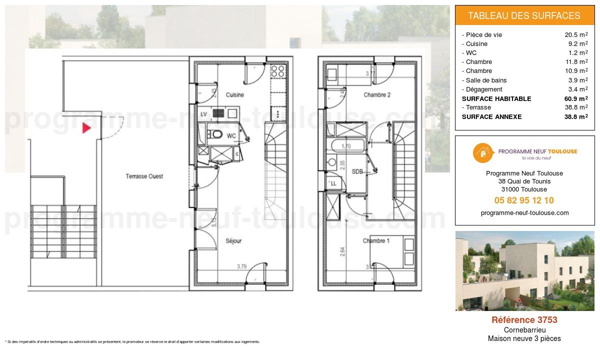 Plan pour un Maison neuve de  60.9m² à Cornebarrieu