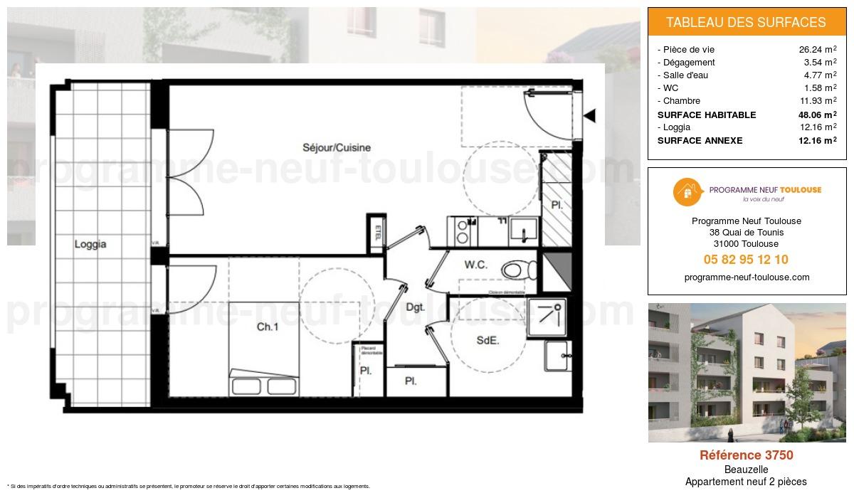 Plan pour un Appartement neuf de  48.06m² à Beauzelle