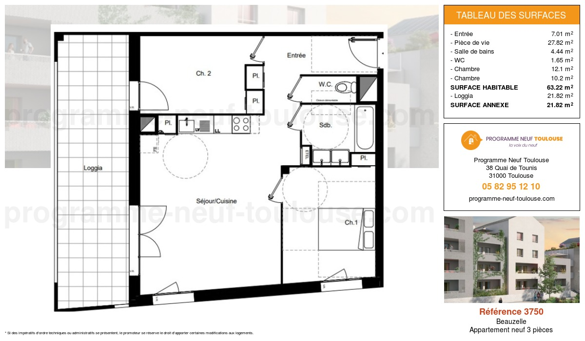 Plan pour un Appartement neuf de  63.22m² à Beauzelle