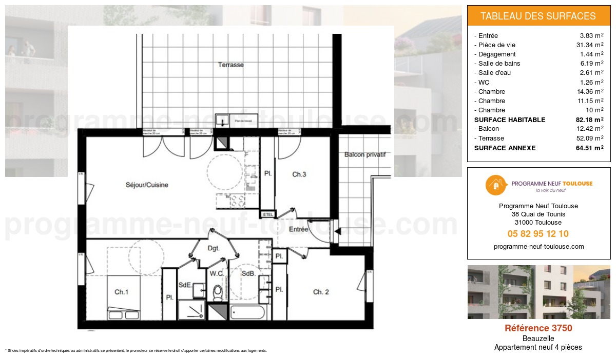 Plan pour un Appartement neuf de  82.18m² à Beauzelle